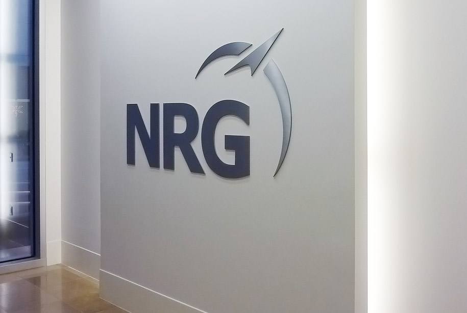 NRG logo on interior wall